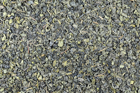 leaflets: close up of green tea Gunpowder leaflets, detail, macro, full frame, horizontal