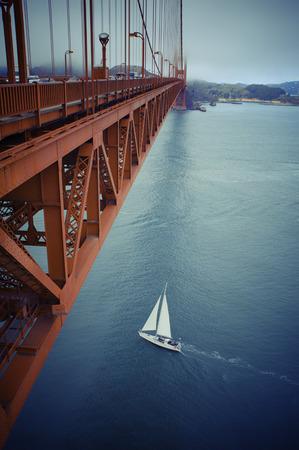 west gate: famous Golden Gate Bridge, San Francisco at night, USA