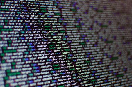Développement de logiciels. Code source du logiciel. Code de programmation. Programmation de code d'écriture sur ordinateur portable. Banque d'images - 76297085