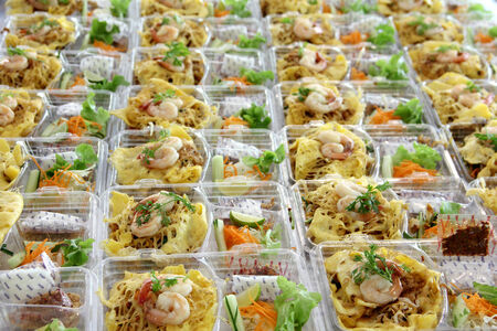 Prepare food for out door eating in plastic box