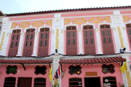 buliding: sino portuguese buliding old style in colorful in phuket thailand