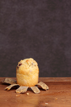 teakwood: muffin bakery on teakwood table Stock Photo