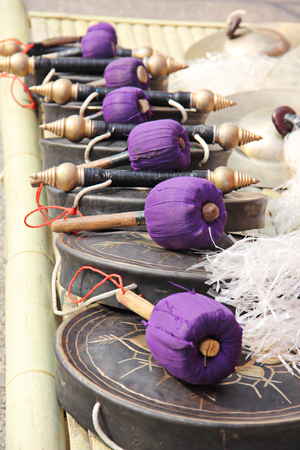 group of purple wooden gong photo