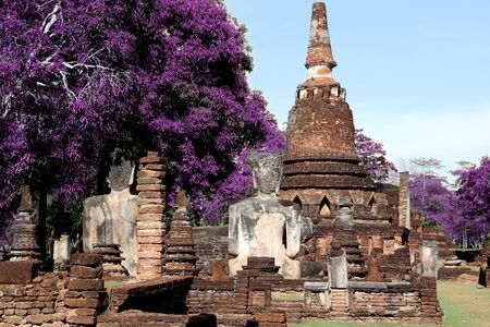 technicolor old temple ancient wat in kamphaeng phet world heritage place photo