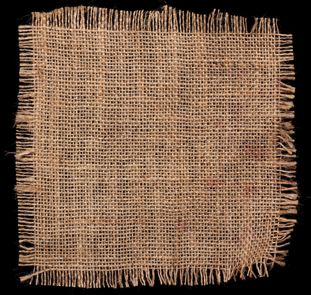 texture of Burlap hessian square with frayed edges on black background