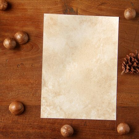 teakwood: paper on teakwood board with cones araucaria almond nut with lot of copy space square format