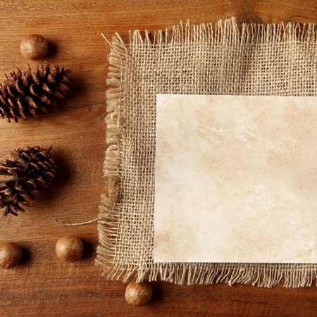 teakwood: paper burlap on teakwood board  with cones araucaria almond nut with lot of copy space square format