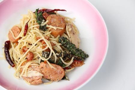 dry sausage: asia hot spaghetti dry chilli Fresh pepper  bacon sausage closeup