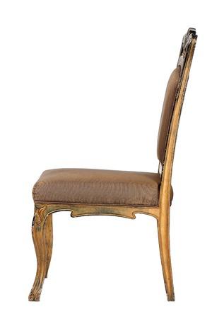 silla de madera: Brown antiguos louis estilo silla retro aislado fondo blanco Foto de archivo