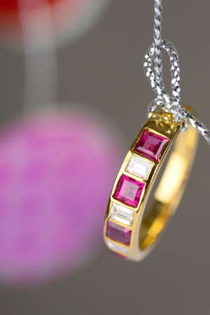 ruby: gold ring with square diamond ruby hang on silver thread