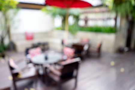sitting area: blur terrace outdoor coffee shop sitting area Stock Photo