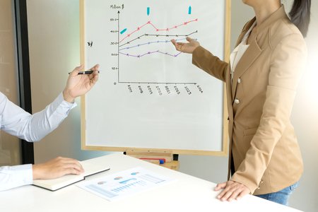 young entrepreneurs: presentation in business group meeting show chart graph on board