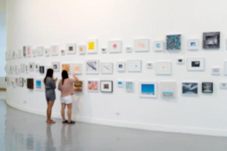 blur white museum room art gallery exhibition display Banco de Imagens