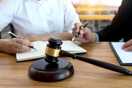 lawyer  judge  or Auction show  gavel in the room or office Stock Photo