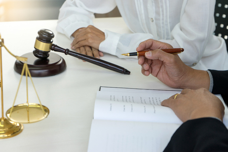 Judge Gavel With Justice Lawyers Businessman In Suit Or Lawyer - Law documents