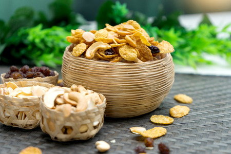 cornflake caramel snack food healthy nutrition meal with texture of brown material Bamboo weave