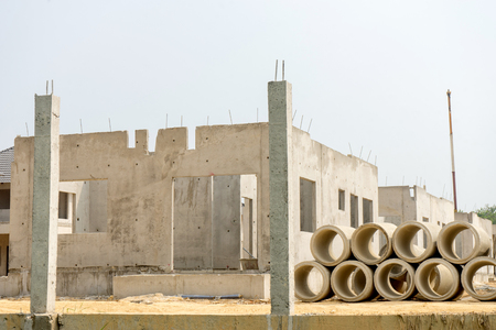 realestate sites construction housing working for new home town Stock Photo