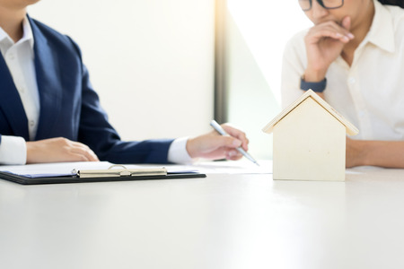 Business man woman agreement to sign for contract for new home buy or rent