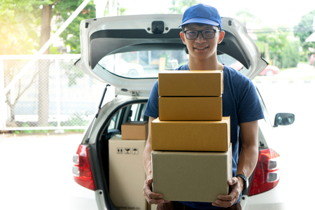 worker man delivery the boxs to  home or office