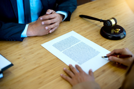 lawyer law with gavel balance work with marriage case show ring on the table
