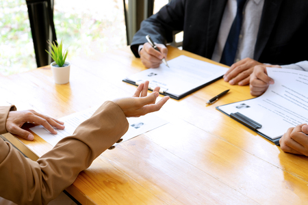 New staff candidate are in Job interview with corporate business manager in office - recruitment process concept