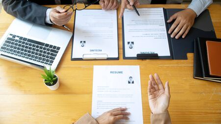 New staff candidate are in Job interview with corporate business manager in office - recruitment process concept crop 16:9 스톡 콘텐츠 - 124952204