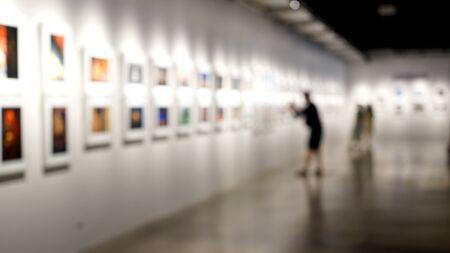 Blur art exhibition room, white tone display in museum. 写真素材