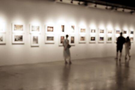 Blur art exhibition room, sepia tone display in museum. 写真素材