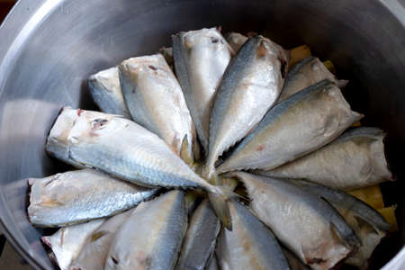 fresh rastrelliger or mackerel fish raw sea food in a big bowl. Stock fotó