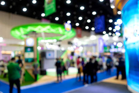 Blur image of  Exhibition trade fair  event convention hall business blur background of  money business expo