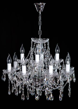 Crystal Chandelier. Group of hanging crystals.