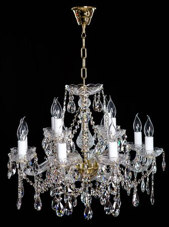 chandelier background: Elegance crystal strass chandelier with eight lamps.