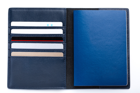 mans blue wallet with passport and cards. Stock Photo