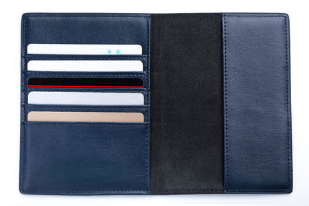 guys blue wallet isolated on white background.
