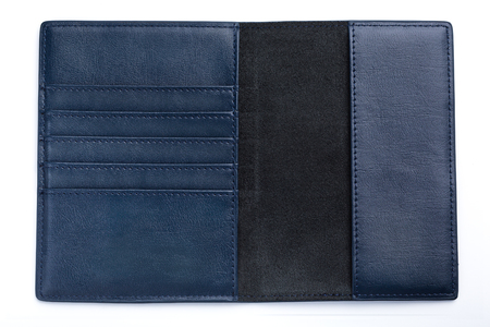 dark blue leather male passport case on white background.