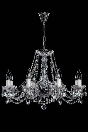 electric fixture: luxury chandelier on black backgruund. Stock Photo