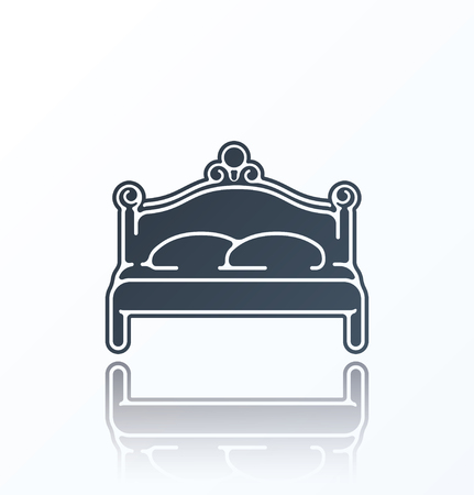 bedstead: Bed Icon on white background.
