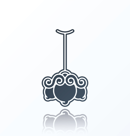 lustre: Chandelier Icon on white background. Illustration