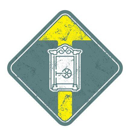 Old Closed safe vector illustration. Illustration