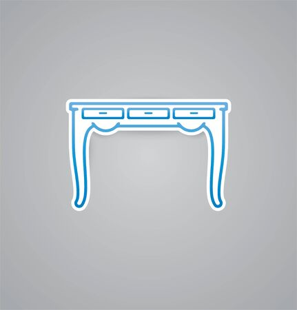 platen: White table icon on grey background. Vector illustration table icon. eps10. Illustration