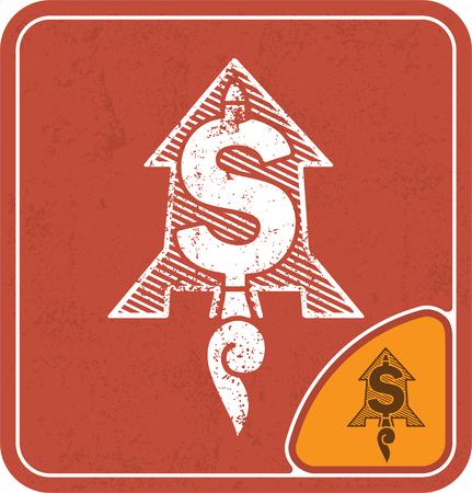 dollar icon like flying rocket on red background vector illustration.