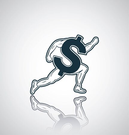 chaser: Running dollar currency sign on reflection. Eps 10. Illustration