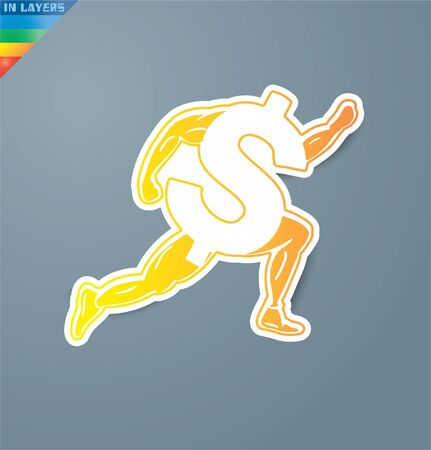 Gymnast dollar currency signcon reflection. Eps 10. Illustration