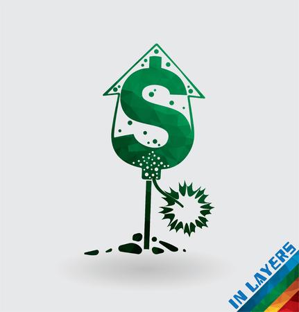 squib: Petard rocket dollar currency, triangle.