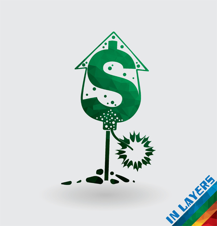 Petard rocket dollar currency, triangle.