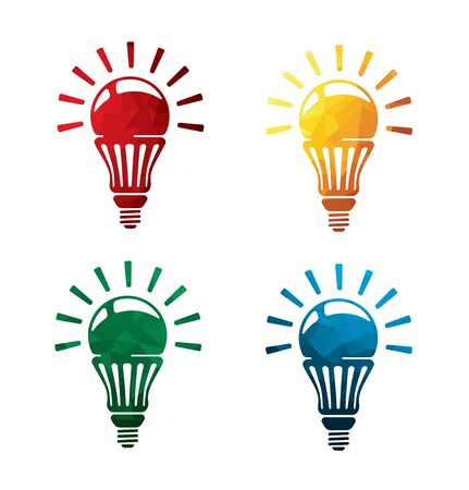Colorful bulb icons on white background. Electric lamp icons. eps8. Illustration