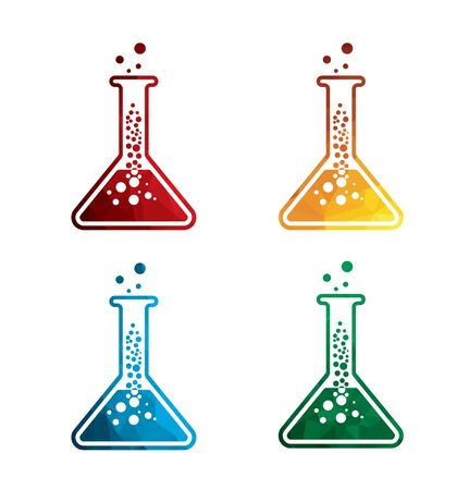 Colorful flask icons on white background. Laboratory equipment icons. eps8. Illustration
