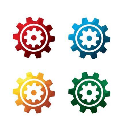 rackwheel: Colorful cogwheel icons on white background. isolated gear icons. eps8. Illustration