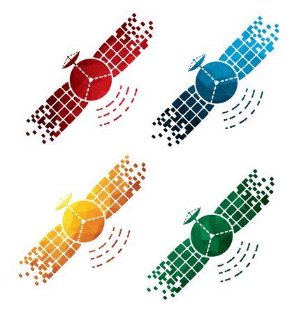 colorific: colorful satellite icons on white background. isolated satellite icons. eps8.