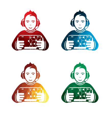 Graphic operator icons on white background. isolated controller icons. eps8. Illustration